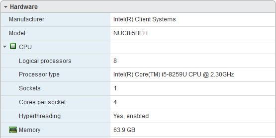 Running ESXi 6 7 on a Bean Canyon Intel NUC NUC8i5BEH  – Madlabber